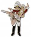 Tanzpaar stehend Pin - Farbe - rot-weiß