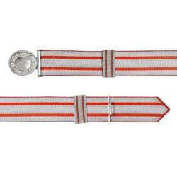 Feldbinde silber mit roten Streifen (rot National)