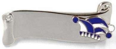 Narrenspange silber mit Gravurfläche blau-weiß