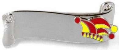 Narrenspange silber mit Gravurfläche rot-gelb