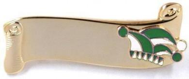 Narrenspange gold mit Gravurfläche grün-weiß