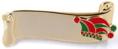 Narrenspange gold mit Gravurfläche grün-rot