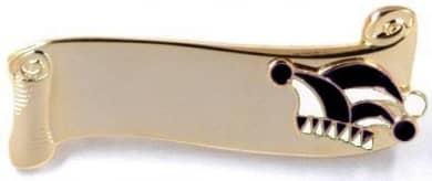 Narrenspange gold mit Gravurfläche schwarz-weiß