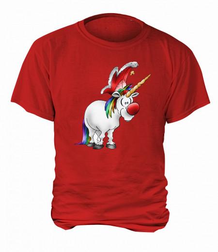 "T-Shirt ""Jeckes Einhorn"" - Herren Rot   XS"