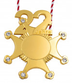 Karnevalsorden 22 Jahre mit Schmucksteinen gold