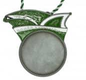 Runder Karnevalsorden mit Narrenkappe grün-weiß