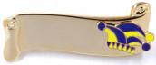 Narrenspange gold mit Gravurfläche blau-gelb