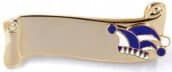 Narrenspange gold mit Gravurfläche blau-weiß