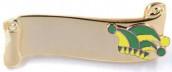 Narrenspange gold mit Gravurfläche grün-gelb
