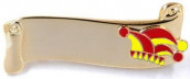 Narrenspange gold mit Gravurfläche rot-gelb