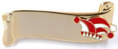 Narrenspange gold mit Gravurfläche rot-weiß