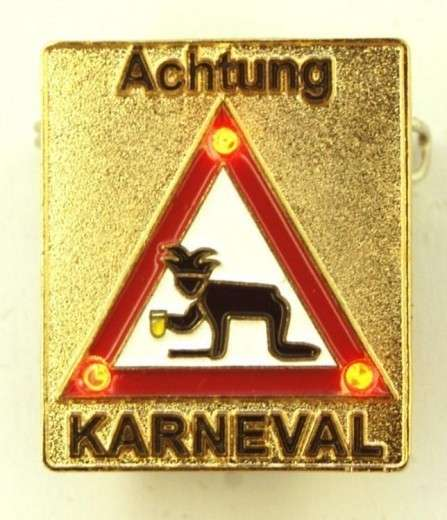 Achtung Karneval Pin mit Blinkis