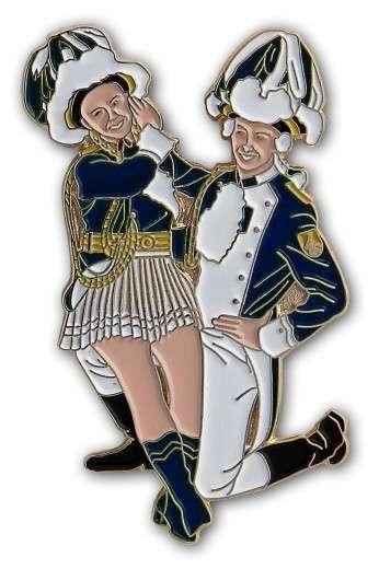 Tanzpaar sitzend Pin blau-weiß