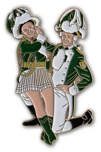 Tanzpaar sitzend Pin grün-weiß