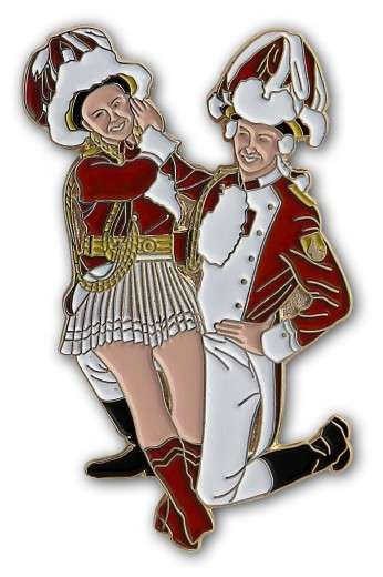 Tanzpaar sitzend Pin rot-weiß