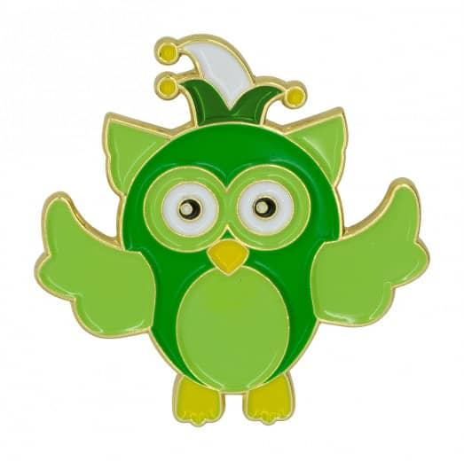 """Pin """"Eule Freddi"""" grün-weiß"""