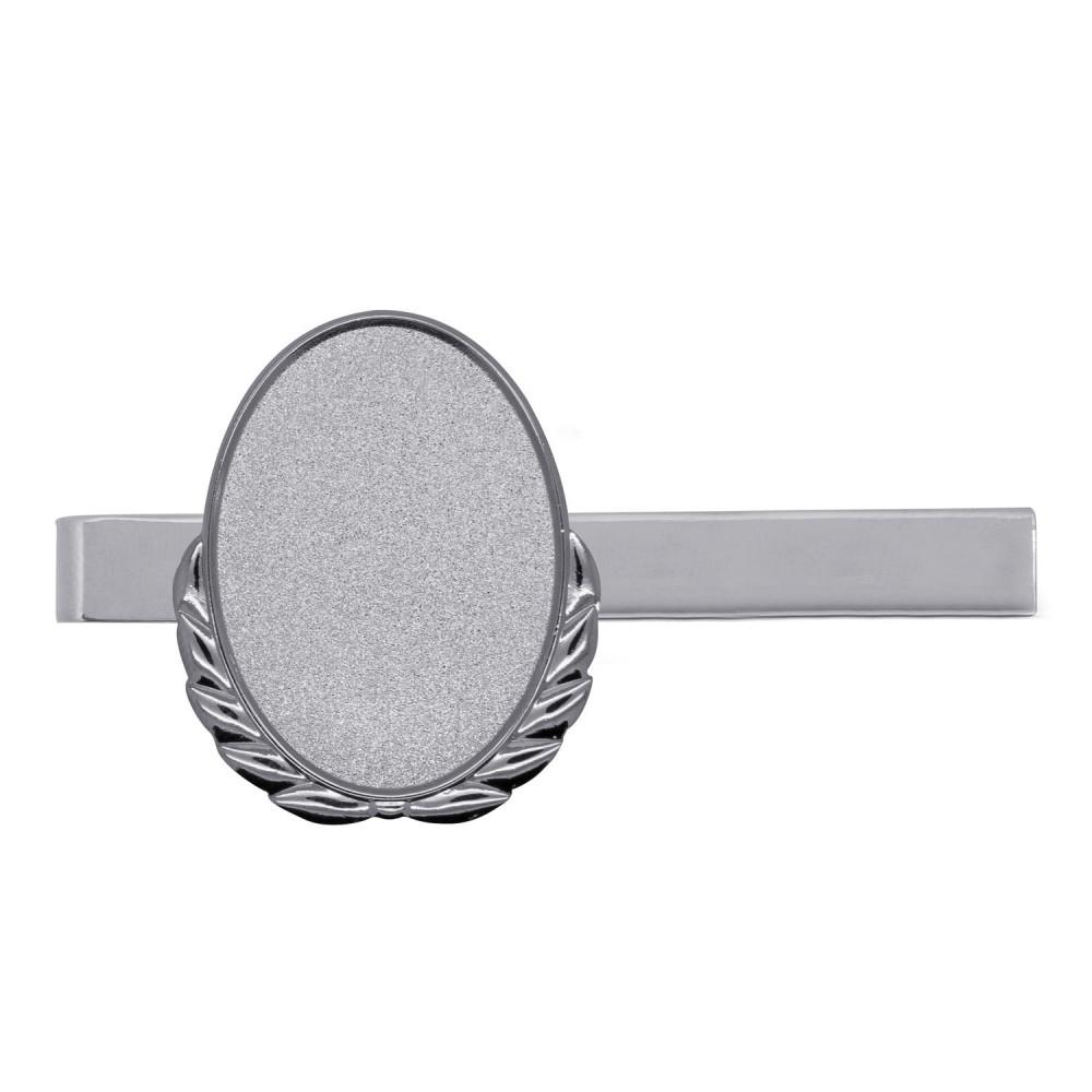 Krawattenklammer mit Auflage oval mit Kranz silber