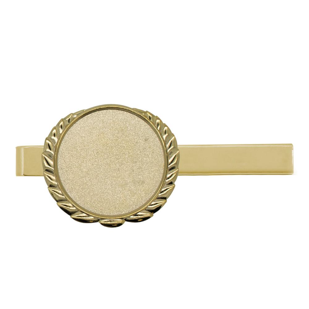 Krawattenklammer mit Auflage rund mit Kranz gold