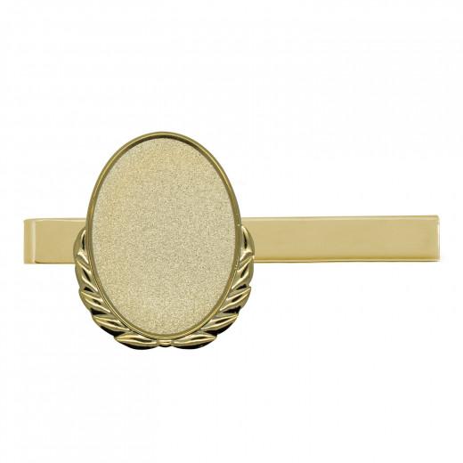 Krawattenklammer mit Auflage oval mit Kranz gold