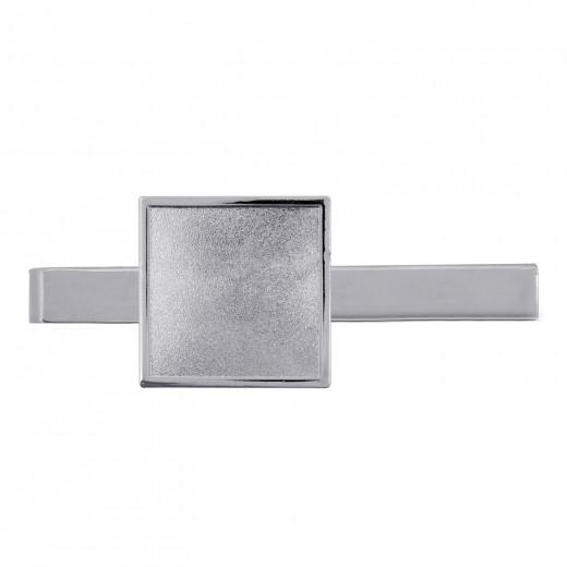 Krawattenklammer mit Auflage Quadratisch silber