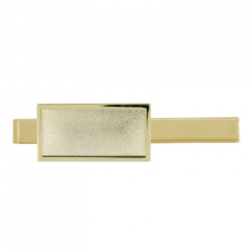 Krawattenklammer mit Auflage rechteckig 30x15mm gold