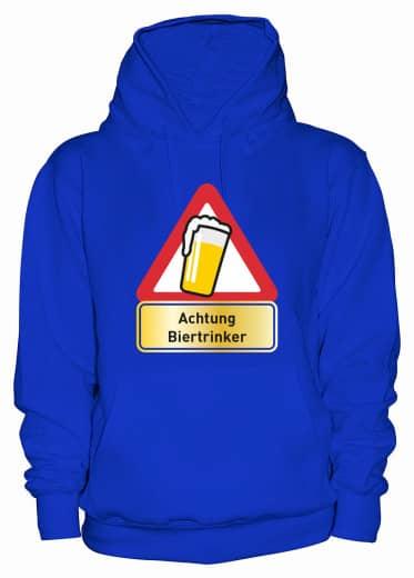 "Hoodie ""Achtung Biertrinker"" - Damen Blau | XS"
