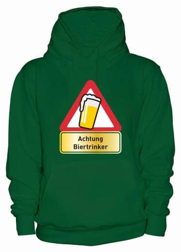 "Hoodie ""Achtung Biertrinker"" - Damen Grün | XS"