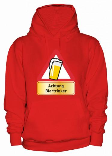 """Hoodie """"Achtung Biertrinker"""" - Damen Rot   XS"""