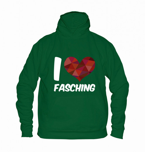 "Hoodie ""I Love Fasching"" - Kinder Grün | 104"