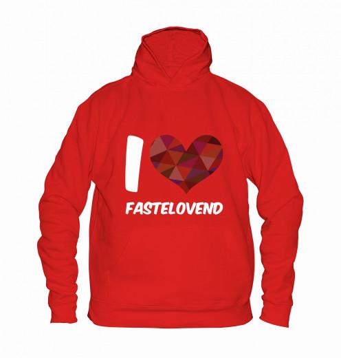 "Hoodie ""I Love Fastelovend"" - Kinder Rot   104"