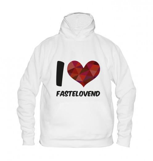 """Hoodie """"I Love Fastelovend"""" - Kinder Weiß   104"""