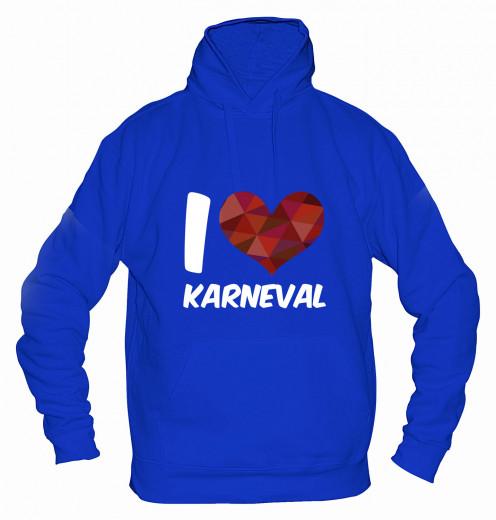 "Hoodie ""I Love Karneval"" - Herren Blau | XS"
