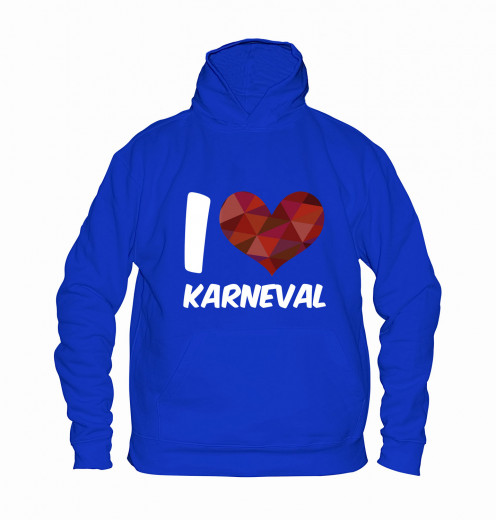 "Hoodie ""I Love Karneval"" - Kinder Blau | 104"