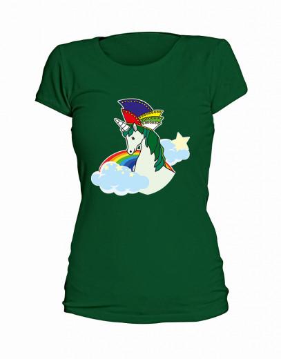 """T-Shirt """"Einhorn Narrenkappe"""" - Damen Grün   XS"""