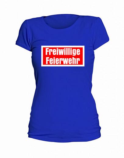 "T-Shirt ""Freiwillige Feierwehr"" - Damen Blau | S"