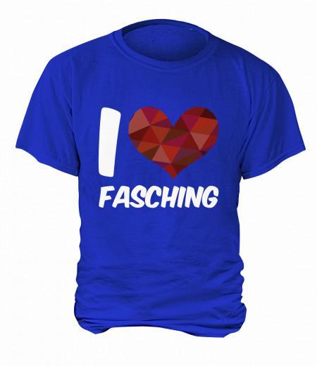 "T-Shirt ""I Love Fasching"" - Herren Blau | XS"