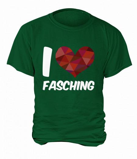 "T-Shirt ""I Love Fasching"" - Herren Grün   XS"