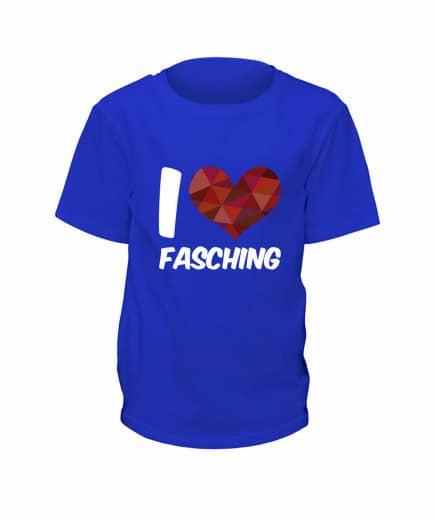 "T-Shirt ""I Love Fasching"" - Kinder Blau | 90"