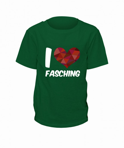 "T-Shirt ""I Love Fasching"" - Kinder Grün | 90"