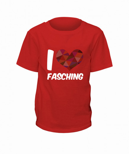 "T-Shirt ""I Love Fasching"" - Kinder Rot 