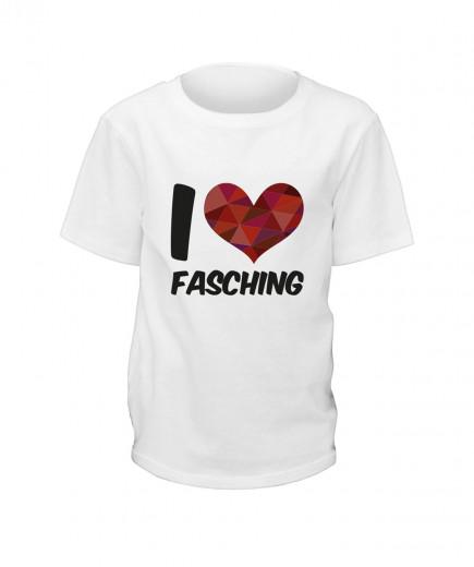 "T-Shirt ""I Love Fasching"" - Kinder Weiß | 90"