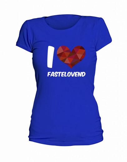 "T-Shirt ""I Love Fastelovend"" - Damen Blau | S"