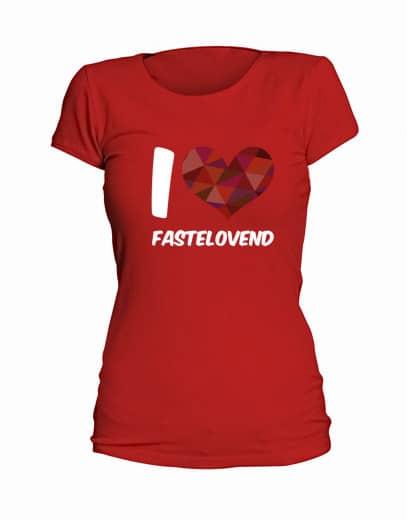"T-Shirt ""I Love Fastelovend"" - Damen Rot | S"