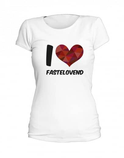 "T-Shirt ""I Love Fastelovend"" - Damen Weiß | XS"
