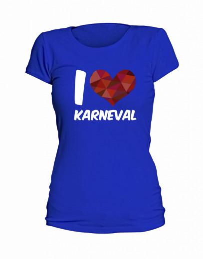 "T-Shirt ""I Love Karneval"" - Damen Blau | XS"