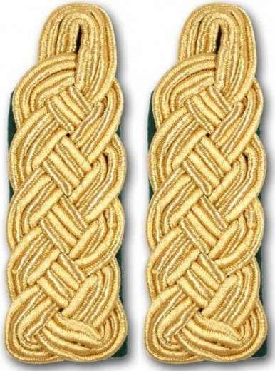 Schultergeflechte - Majorsgeflechte gold grün
