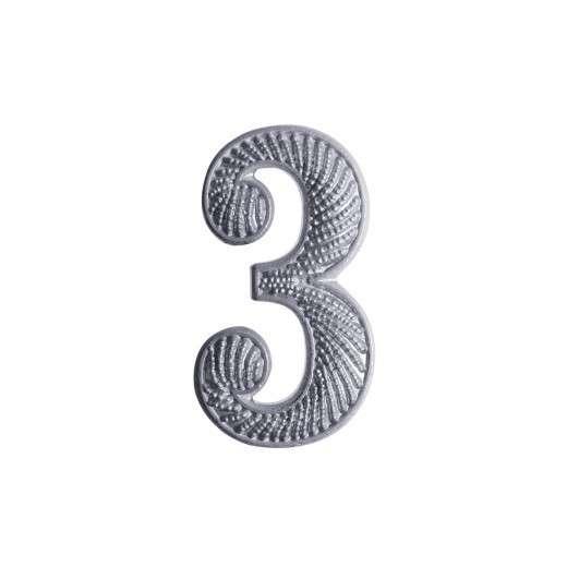"""Zahl """" 3 """" für Schulterklappe versilbert"""
