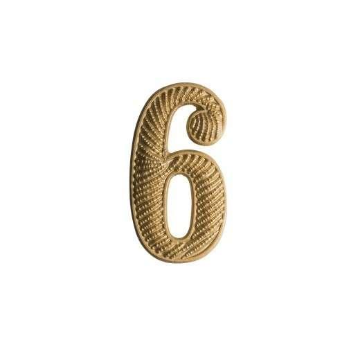 """Zahl """" 6 """" für Schulterklappe vergoldet"""